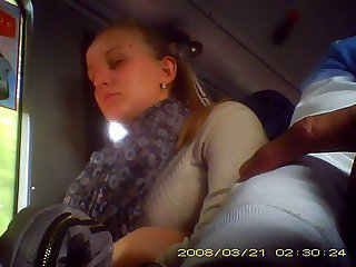 Bus Public Sleeping Teen Voyeur