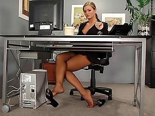 Babe Feet Fetish Legs Office Secretary Stockings
