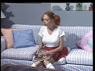 Two Older Guys Fuck Pigtailed Redhead Teen