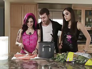 Babe Kitchen Tattoo Threesome