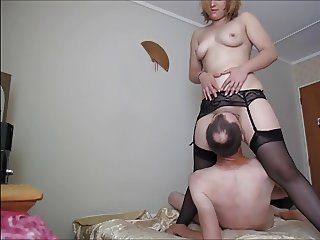 Femdom Licking MILF Stockings