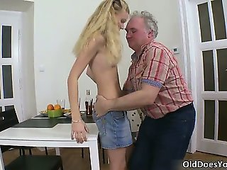 Blonde Daddy Daughter Old and Young Skinny Small Tits Teen