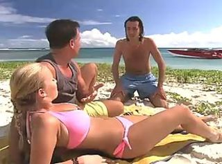 Babe Beach Bikini Outdoor Threesome