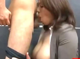 Busty Office Lady Giving Blowjob On Her Knees Cum To Mouth On The F...