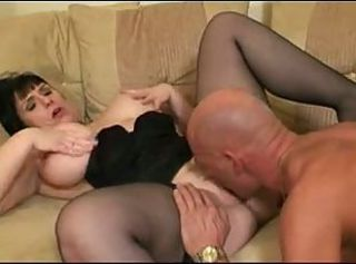 Big Tits Brunette Licking MILF Pornstar Stockings