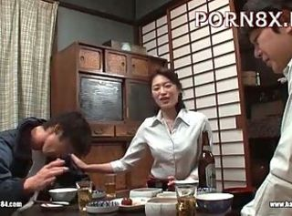 Asian Drunk Family Japanese Kitchen MILF Mom