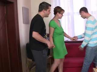 Glasses Mature Mom Old and Young Threesome