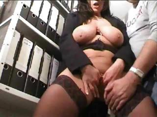 Big Tits MILF Natural Office SaggyTits Secretary Stockings