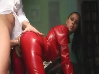 Latex Queen And Her Slave In Action