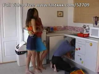 Kitchen Skirt Teen Threesome