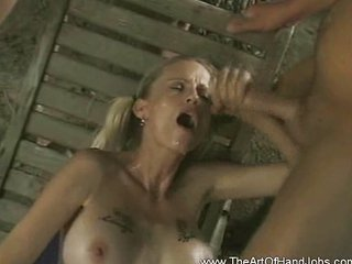 Cumshot Handjob MILF Outdoor Pigtail Swallow Tattoo