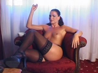 Amazing Legs MILF Small Tits Smoking Stockings
