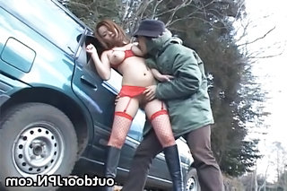 Asian Babe Car Fishnet Japanese Outdoor Pornstar Public