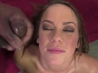 Booted Brunette Interracial Facial