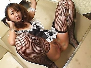 Perverted Asian maid pissing all over the place
