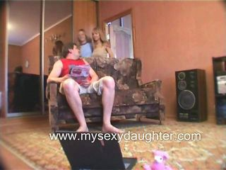 Amateur Daddy Daughter Family Homemade Old and Young Teen Threesome