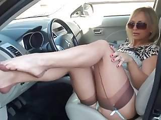 Car Feet Fetish Legs MILF Stockings