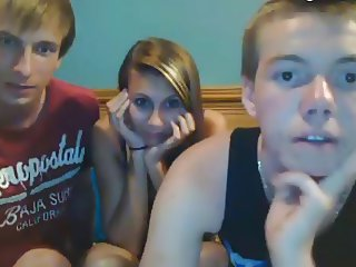 2 Young Boys And One Girl Have Fun On Cam