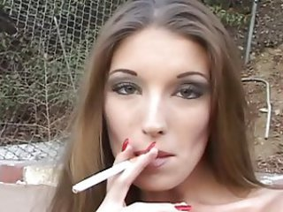 Amazing MILF Outdoor Pornstar Smoking