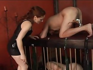 Guy gets balls and cock torture from dominatrix