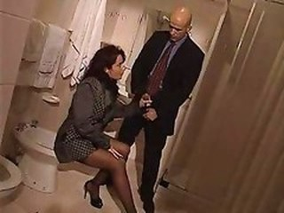 Handjob MILF Pornstar Stockings Toilet