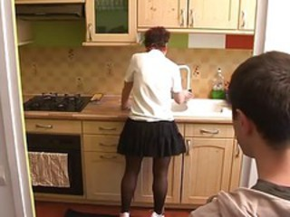 Kitchen MILF Mom Old and Young Skirt Stockings