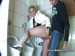 Clothed Doggystyle Mature Toilet