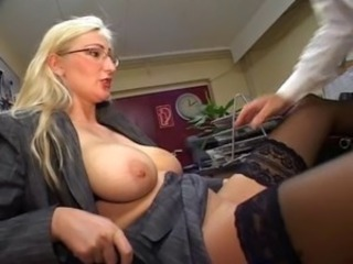 Big Tits Blonde Glasses MILF Natural Office Pornstar SaggyTits Secretary Stockings