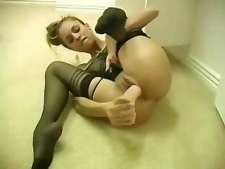 Amazing Dildo Masturbating Solo Stockings Teen Toy