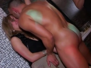 Hottest real party chicks licking onto boner