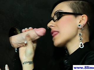 Solo gloryhole euro drenched less cum by bukkake cock