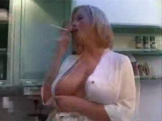 Big Tits Kitchen MILF Mom Natural SaggyTits Smoking