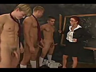 Big cock CFNM Femdom Old and Young School Teacher