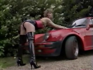 Car Latex Legs MILF Outdoor Vintage