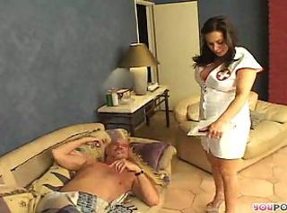 Hot brunette nurse with huge bazooms gives her licked hole for deep...