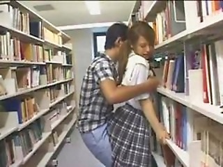 Shy Schoolgirl groped and used in a library