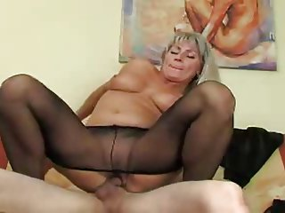 Chubby Mature Mom Old and Young Pantyhose Riding Russian