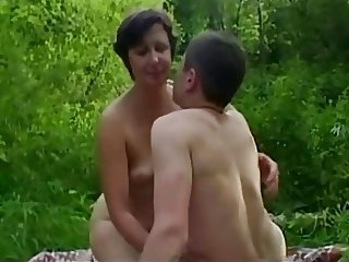Amateur Mature Mom Old and Young Outdoor