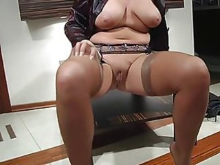 Chubby Mom Natural Pussy SaggyTits Shaved Stockings