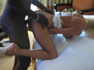 Very sexy blonde wife gets doggie style interracial sex
