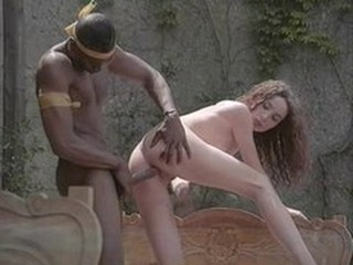 Babe Big cock Interracial Outdoor