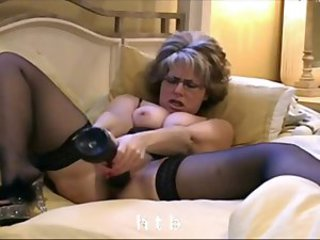 Dildo Glasses Masturbating MILF Solo Stockings Toy Webcam