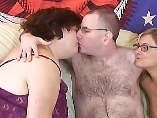 Nasty hairy husband has a wonderful time with his wife and her friend