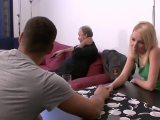 Cute dad uses son's girl