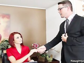 Busty Redhead secretary gets caught stealing from office and fucks