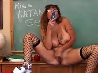 Big Tits Fishnet Glasses Masturbating Mature Natural SaggyTits School Tattoo Teacher Toy