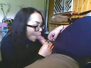 Asian Blowjob Clothed Girlfriend Glasses Webcam