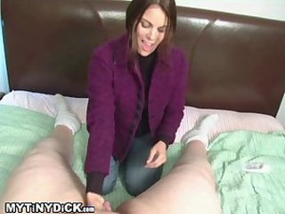 Hottie Heater playing with a small cock
