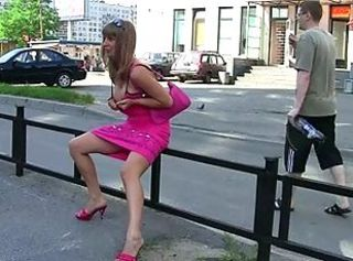 Young girl shows Tits and pussy on the street