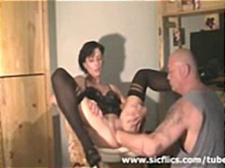 Brunette housewife gets brutally deep fisted in her big pussy